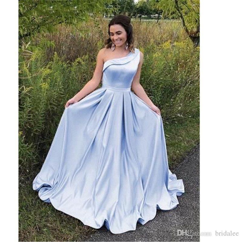 894b12f80b57 Acquista Sexy One Spalla Blu Abito Da Damigella D onore 2019 Lungo  Pavimento Lunghezza Abito Da Cerimonia Nuziale A Buon Mercato Plus Size  Donna Vestido De ...