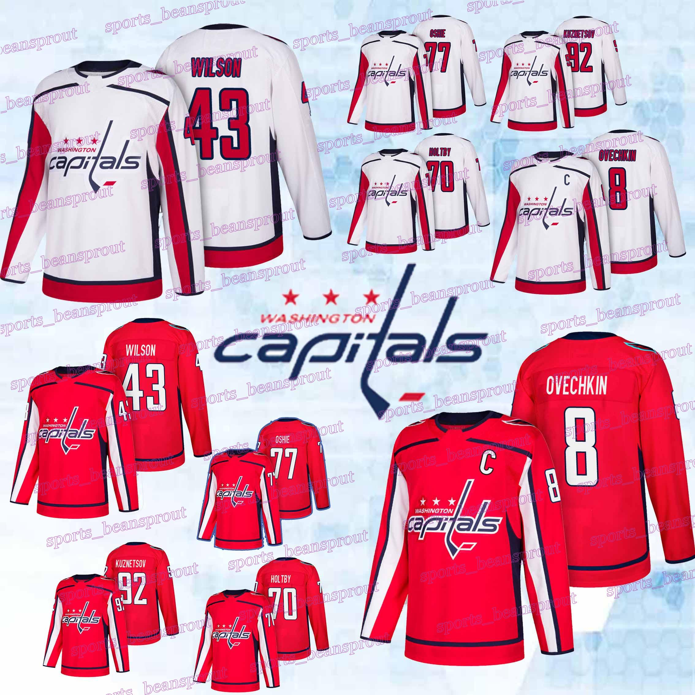 best website f8acc 87c00 Washington Capitals jerseys 8 Alex Ovechkin 43 Tom 92 Evgeny Kuznetsov 19  Nicklas 70 Braden Holtby hockey jerseys