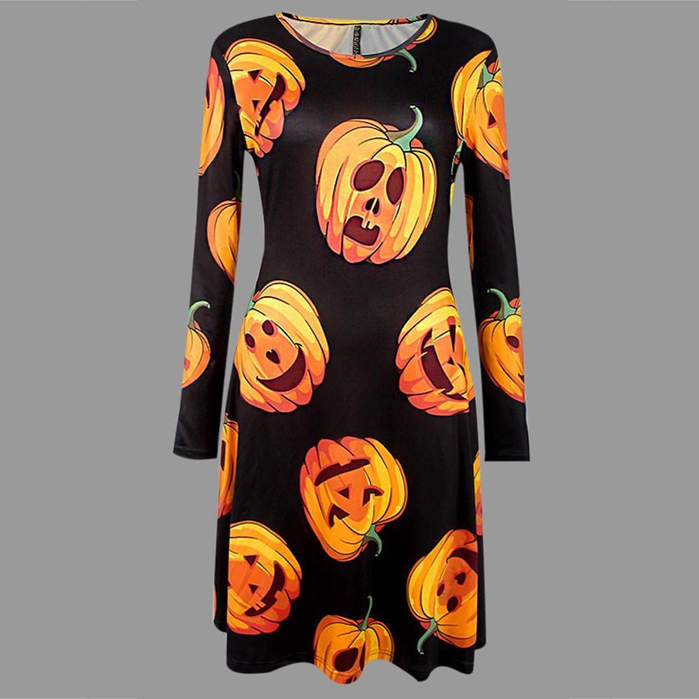 cbdd3465918e4f Großhandel Halloween Blumenkleid Damen Kleidung 2019 Voll Ärmel Kürbis  Print Damen Kleider Moda Mujer 2019 Von Bibei06, $32.46 Auf De.Dhgate.Com |  Dhgate