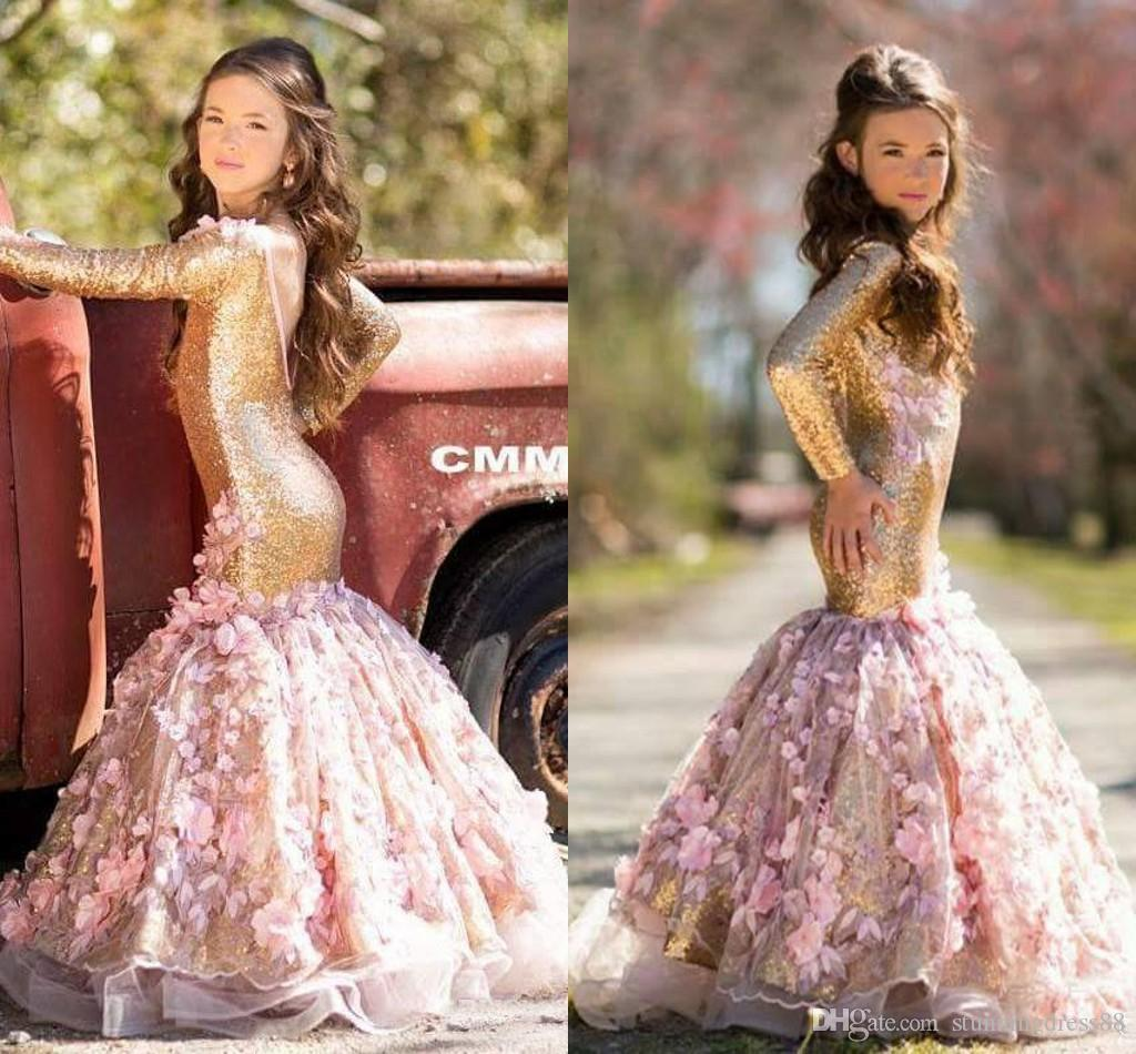 a0dbefe4b28 Luxury Blush 3D Floral Flowers Pageant Dresses 2019 Mermaid Backless Gold  Sequins Long Kids Toddlers Prom Evening Party Flower Girls Dress Flowergirl  Dress ...