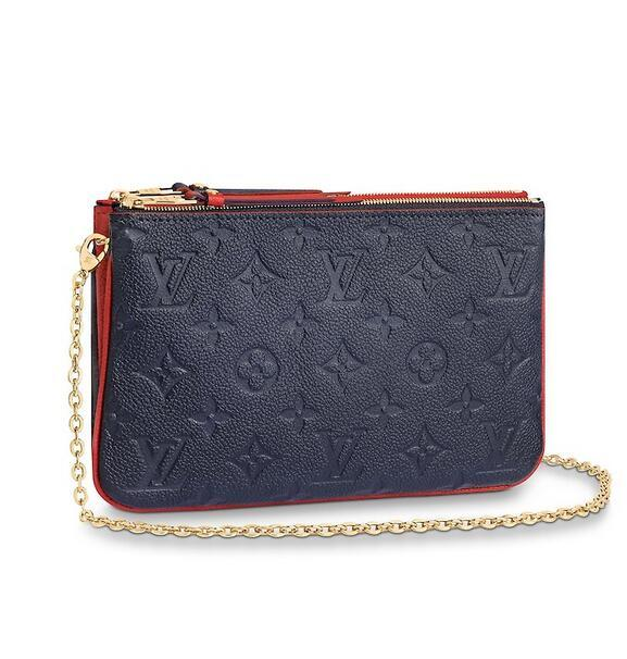 M63916 Pochette Double Zip WOMEN REAL LEATHER LONG WALLET CHAIN WALLETS COMPACT PURSE CLUTCHES EVENING KEY CARD HOLDERS
