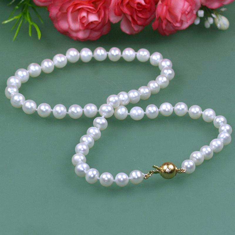 2020 Charming 7 8mm White Round Freshwater Cultured Pearl