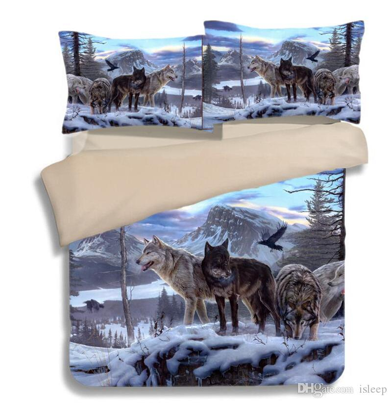 3D Printing Wolf in the Snow 2/3 Pcs Bedding Set with Pillowcase For Twin Full Queen King All Size
