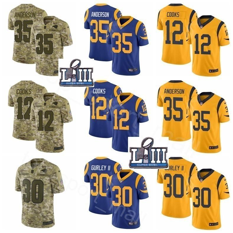 half off a1f80 5c2ec Super Bowl Patch Los Angeles Rams 35 C.J CJ Anderson 12 Brandin Cooks  Jersey Goff Mens Sault to Service Camo Blue Yellow Stitched Football