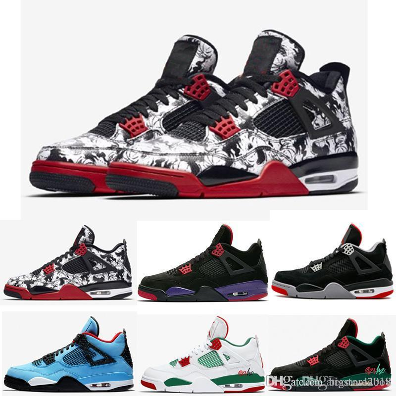 huge selection of f4866 7e327 Acquista Nike Air Jordan Retro Tatuaggi 4 Singles Day 4s Scarpe Da Basket Da  Uomo Soldi Puri Royalty Raptor Di Cemento Bianco Gatto Nero Bred Fire Rosso  ...