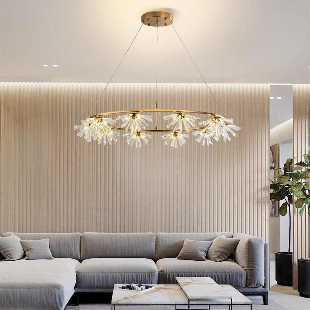 New modern chandelier lighting for dining room luxury led crystal flower  light living room round lights fixtures factory wholesale