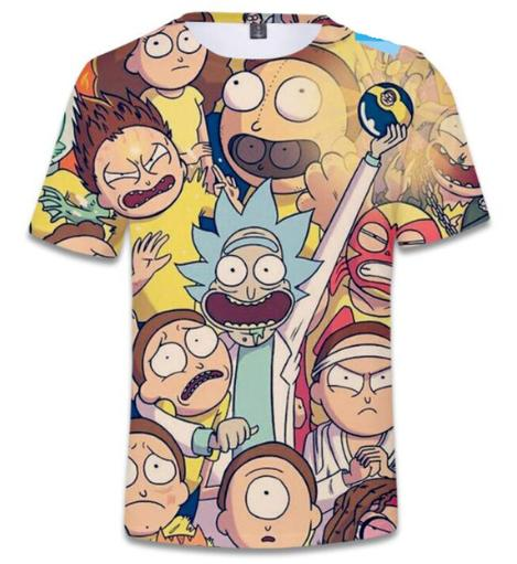 New Fashion Cartoon Anime Rick and Morty T-Shirt Men/Women 3D Printing Summer Unisxe Crewneck Casual Short Sleeved Tops Hip Hop N814