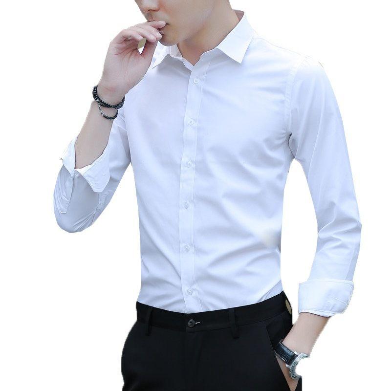 cab4e695dee42 2019 Large Size Men s Business Casual Long Sleeved Shirt White Blue Black  Smart Male Social Dress Shirt Plus