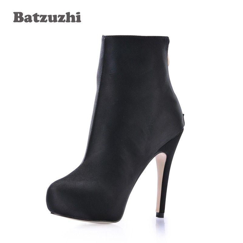 88ff5aca1 Compre Nuevos Zapatos De Moda Para Mujer Botines De Cuero Negro Para Mujer  11cm Tacón Alto Botas Mujer Zip Diseñador Zapatos De Vestir Mujeres X A   94.57 ...