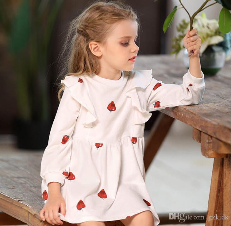 12399bf38 Kids Girls Cotton Cartoon Strawberry Skirt Lotus Leaf Skir Long ...