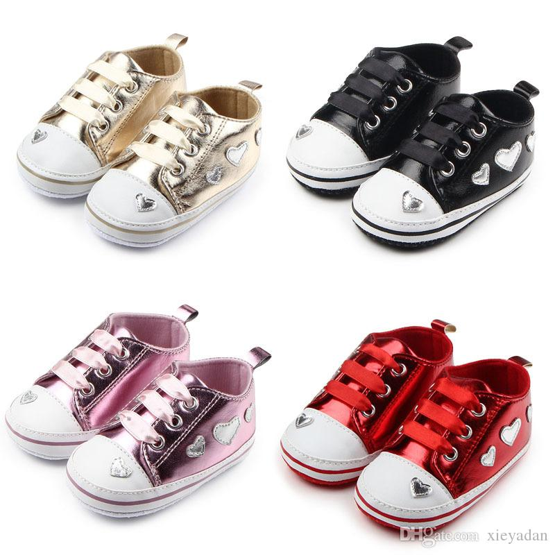2cc99ebf40cf 2019 2018 Comfortable Soft For Kids For Girls Cute Silver Cheat Sheets  Heart For Walking Soft Shoes Shoes 0 18 M From Xieyadan