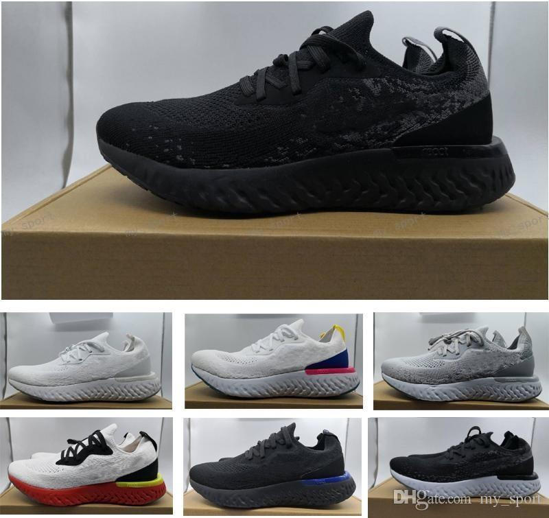 sports shoes 5cfe7 1759a Epic React Triple Black White Racer Trainer Running Shoes Designer Rainbow  Blue Men Sneakers Lunarepic Chaussures Zapatos Size 5.5-11