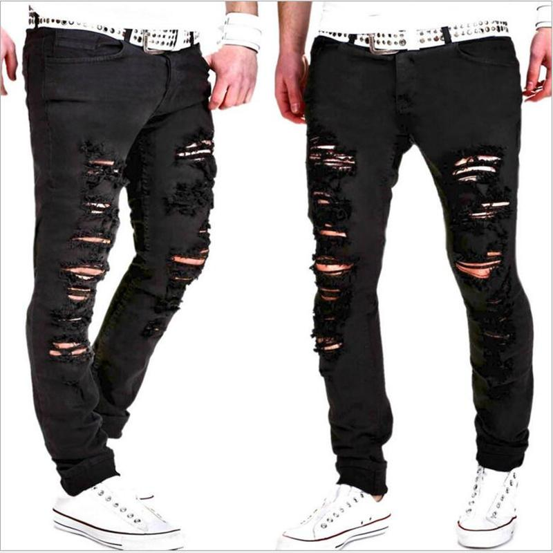 2019 Mens Cool Black Jeans Skinny Ripped Destroyed Stretch Slim Fit Hip Hop Pants With Holes For Men
