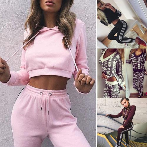 Women Ladies Tracksuit Hoodies Sweatshirt Crop Tops Long Pants Sets Sportwear Casual Suit New Fashion Women Ladies Streetwear
