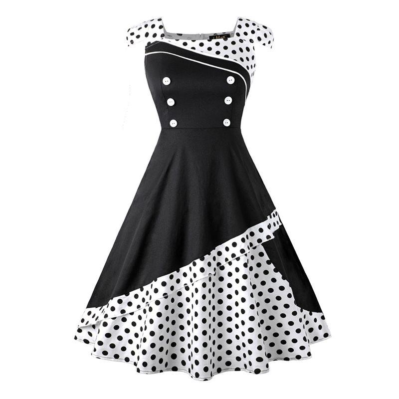 6199f0f09bf75 Retro Polka Dot Dress Women Fashion Patchwork Black Party Girl 50s Vintage  A Line White Preppy Style Red Sweet Summer Dresses Party Dresses Online Day  ...