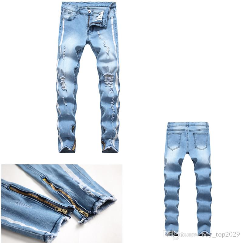Men's Distressed Ripped Jeans Fashion Mens Jeans Slim Motorcycle Moto Biker Causal Mens Denim Pants Hip Hop Men Jeans