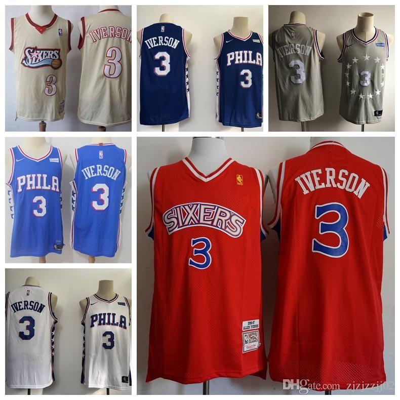 watch e1839 f3741 2019 18 3 Iverson 76ers Jersey The City Philadelphia 21 Embiid 25 Simmons  17 JJ Redick Basketball Jersey NEW
