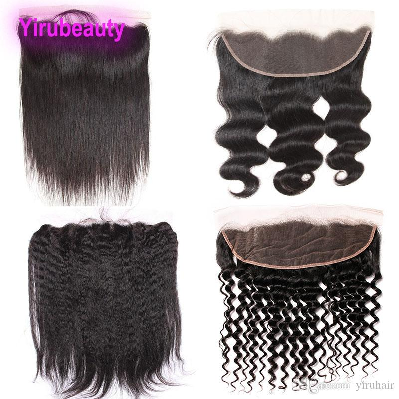 Brazilian Virgin Hair 13X4 Lace Frontal With Baby Hair Pre Plucked Ear To Ear Body Wave Straight Hair Kinky Straight Deep Wave Curly
