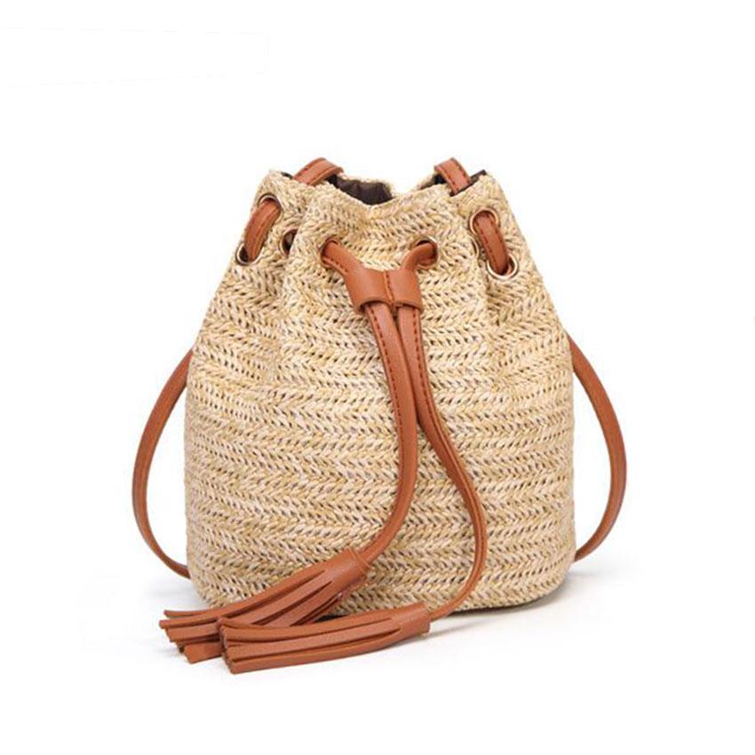 e50eb772fd95 JIARUO Summer Beach Small Women Straw Bucket Bag Handbag Tassel Drawstring  Shoulder Bag Messenger Crossbody Bags Purses panelled