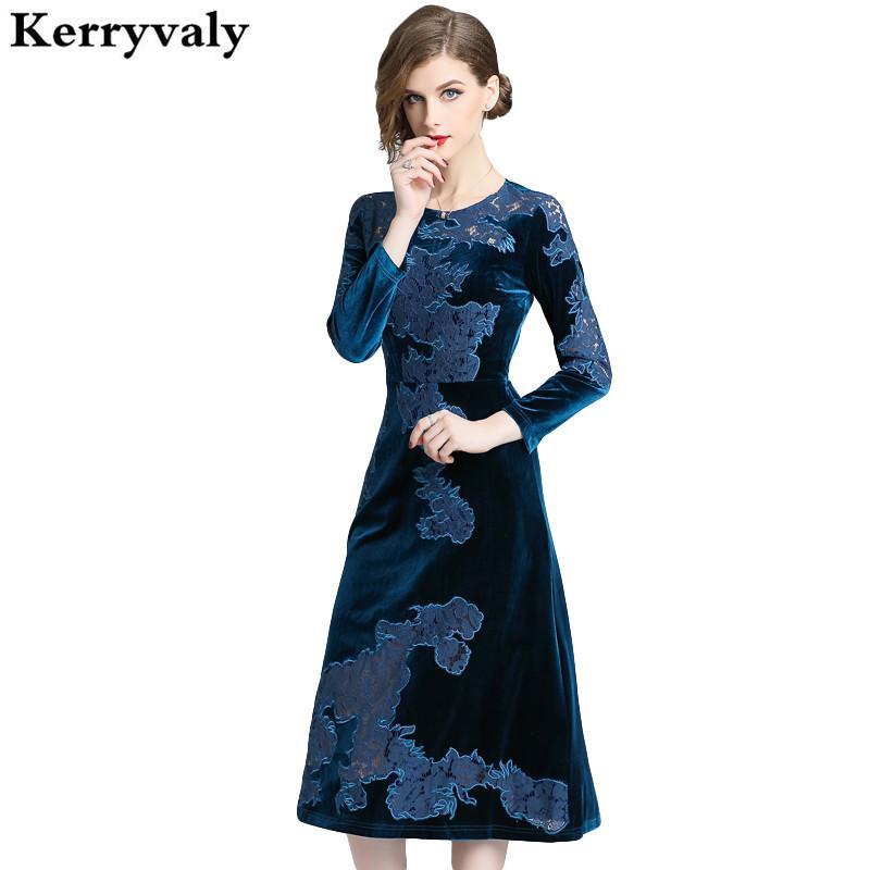 wholesale dealer 6fc36 c2142 Inverno Midi Abito in velluto ricamato elegante Vestidos Invierno 2018  Donna Abito blu party Vestido Blanco Abito in lana Moulante K6201