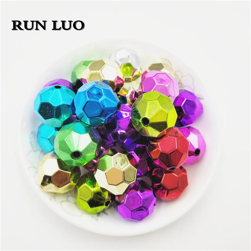 RUN LUO 20 MM Chunky sfaccettato 100 Pz / lotto UV CCB Spacer Bead per acrilico Collana Accessorio dei monili del braccialetto
