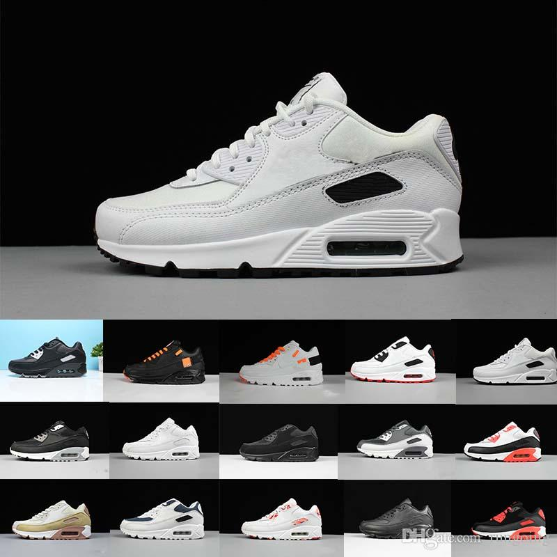 2b074ea75 New 90 Running Shoes Triple Black White Infrared Black Croc Yellow Designer  Mens Women Trainer Sports Sneakers 36 45 Wholesale Dropship Office Shoes  Running ...