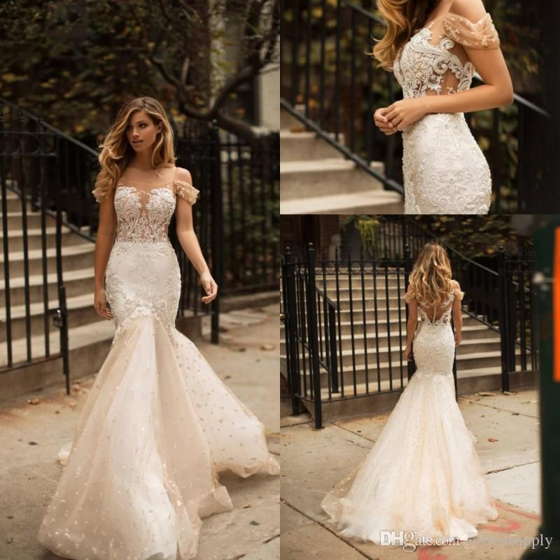 New Arrival Off the Shoulder Mermaid Wedding Dresses Lace Appliques Tulle Country Bridal Gowns Sweep Train