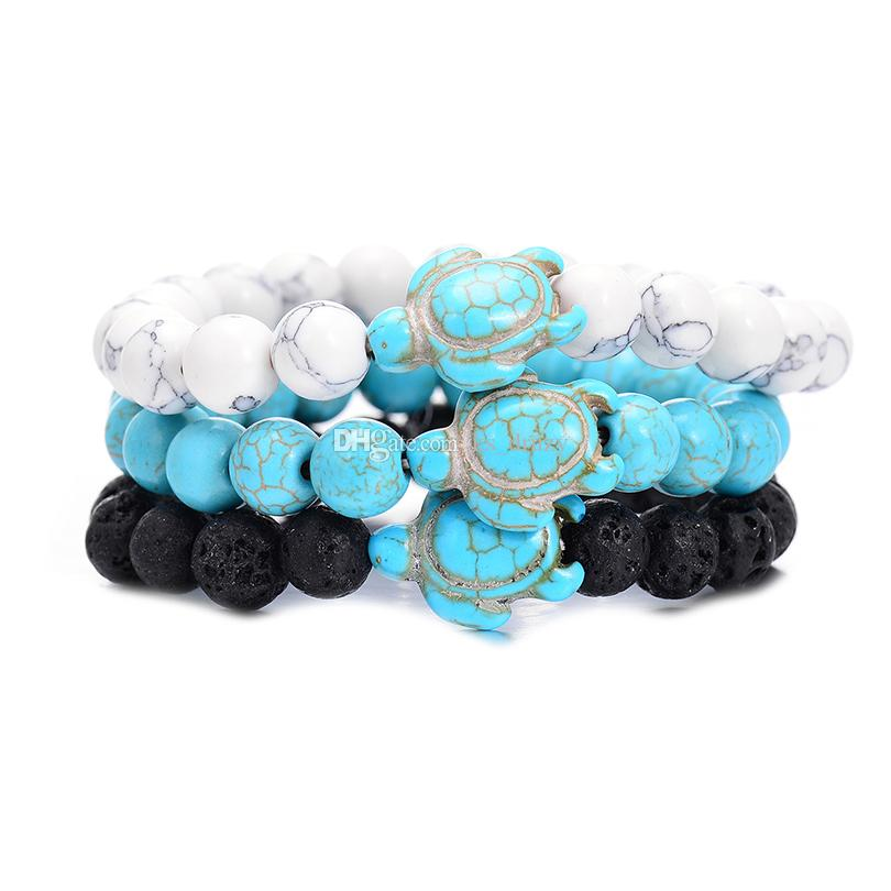 Summer Style Sea Turtle Beads Bracelets Classic 8MM Turquoise Natural Stone Elastic Friendship Bracelet Beach For Women Men Jewelry