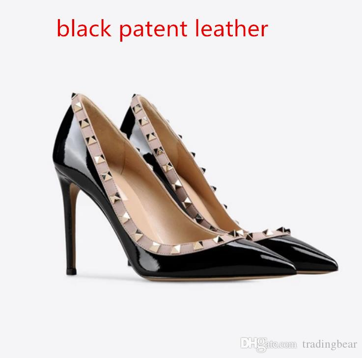 Gelin Çıplak Beyaz Stiletto topuk Perçinler Ayakkabı Boyutu 34-42 tradingbear için kutu Gerçek Deri Kırmızı Düğün Ayakkabıları ile