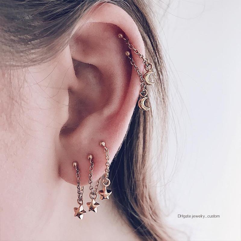 fb94acf4b 2019 / Set Bohemian Retro Star Moon Chain Pendant Ear Studs Gold ...
