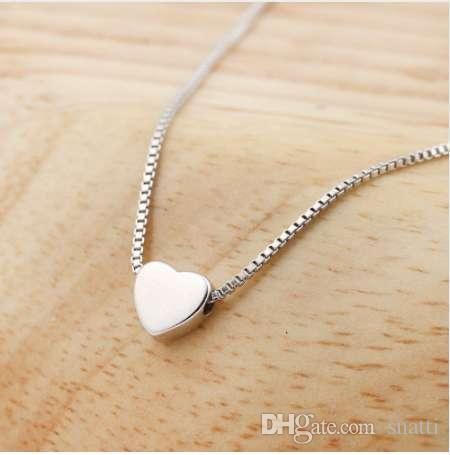 autentico bcd3b d6702 SMJEL Fashion Heart Necklaces for Women 925 Silver Tiny Heart Pendant  Necklace Gift Friendship Jewelry collane collar SYXL062