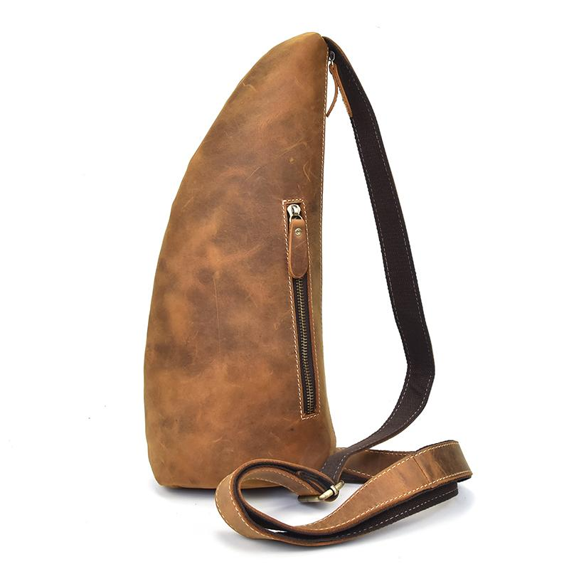 f7695ed931d4 Genuine Leather Bag Strap Brown Sling Men Chest Bag Male Messenger Bags  Cell Phone Leather Crossbody Shoulder Bags Man Hobo Purses Ladies Purses  From ...
