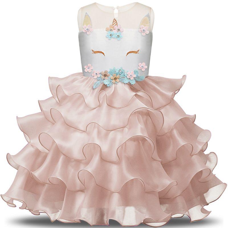 e63edf3d42 Fancy Unicorn Party Dress Baby Girl Tutu Dresses Summer 2018 Kids Clothing  for Girls Embroidery Flower Girl Birthday Costume 8T
