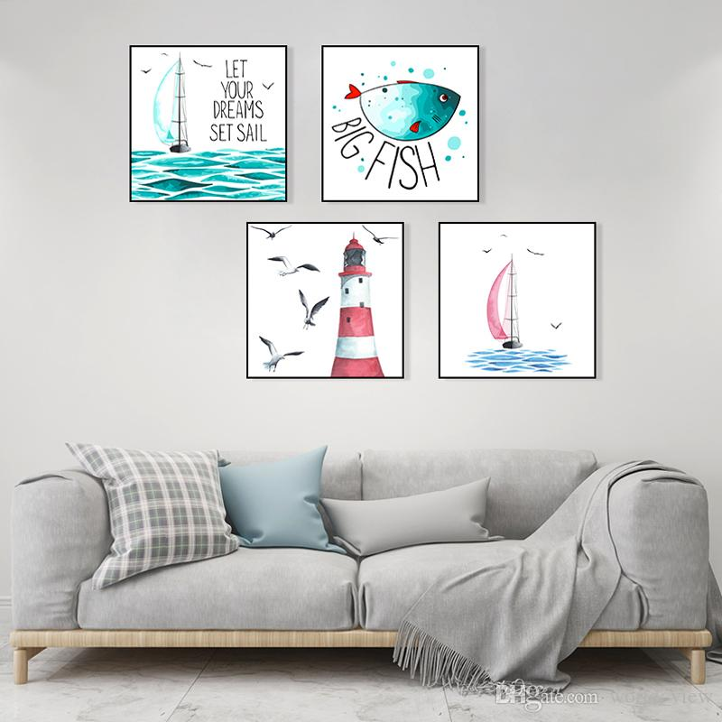 4pcs lighthouse Sail Boat Fish Posters and Prints Nordic Watercolor Wall Art Canvas Painting Ocean Canvas Posters for Kids Bedroom Living Ro