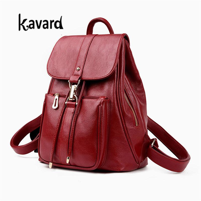 b385e125cce3 New Luxury Women Leather Backpack School Bags For Teenagers Girl S Designer Travel  Bag Vintage Women Backpacks Mochilas Escolar Hydration Backpack Womens ...