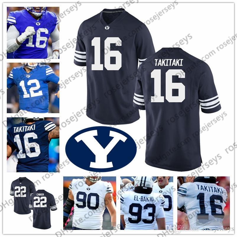 reputable site e33f7 d1467 2019 NCAA BYU Cougars #2 Matt Hadley 22 Squally Canada 14 Ty Detmer 16  Sione Takitaki White Blue Navy Brigham Young Football Jersey