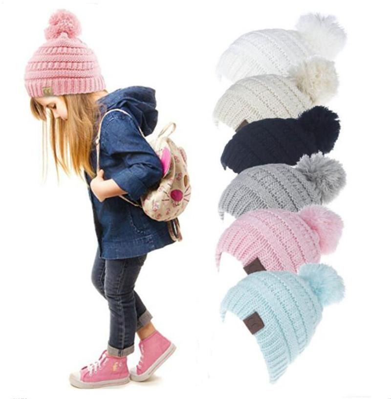 8c4c11094 Kids CC Winter Pom Beanie Trendy Knitted Hats CC Children Chunky Skull Caps  Warm Cable Crochet Hat Knit Hooded Cap Outdoor Hats 6 Colors