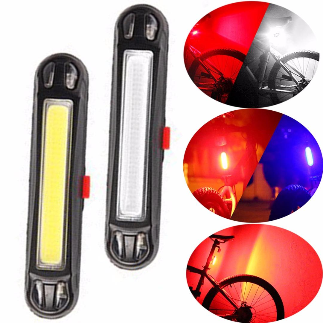 1Pc USB Rechargeable COB LED Bicycle Light Taillight Mountain Bike Rear Tail Light Lamp Cycling Safety Warning Bicycle Parts
