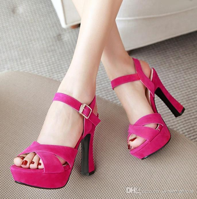 Plus size 32 33 34 35 to 40 41 42 43 cross strap platform thick heels fashion luxury designer women shoes high heel sandals