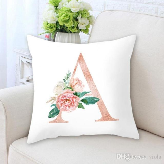 New Cute Design Letter Pillow Case 26 English Letters Alphabet Cushion  Cover Abbreviated Name DIY Custom For Kids Gifts
