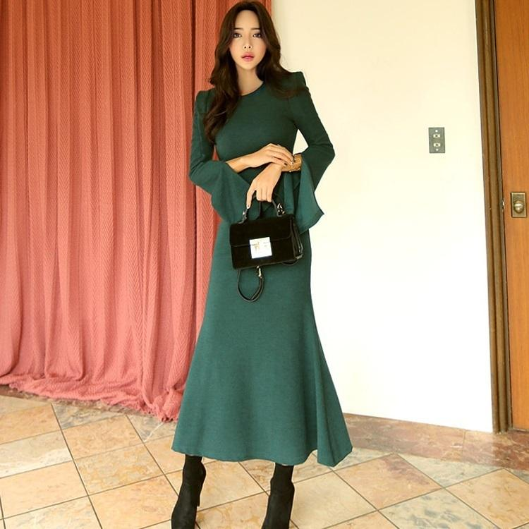 666ffd700c2c New 2018 Autumn Winter Women Christmas Knitting Long Dress Split Flare Sleeve  Casual Sweater Bodycon Maxi Dress C19010201 Online with $66.27/Piece on ...
