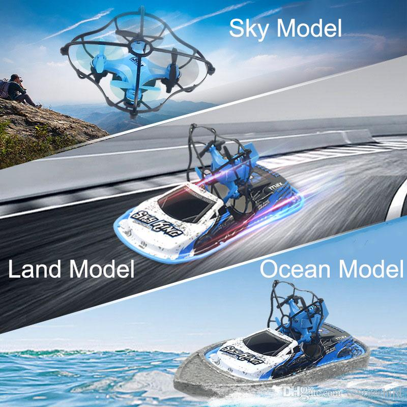 One Key Return RC Remoto Control Ocean Sea Land Triphibious Unmanned Aerial Vehicle Boat Car UAV Four-Axis Aircraft Unmanned Drone Quadrotor