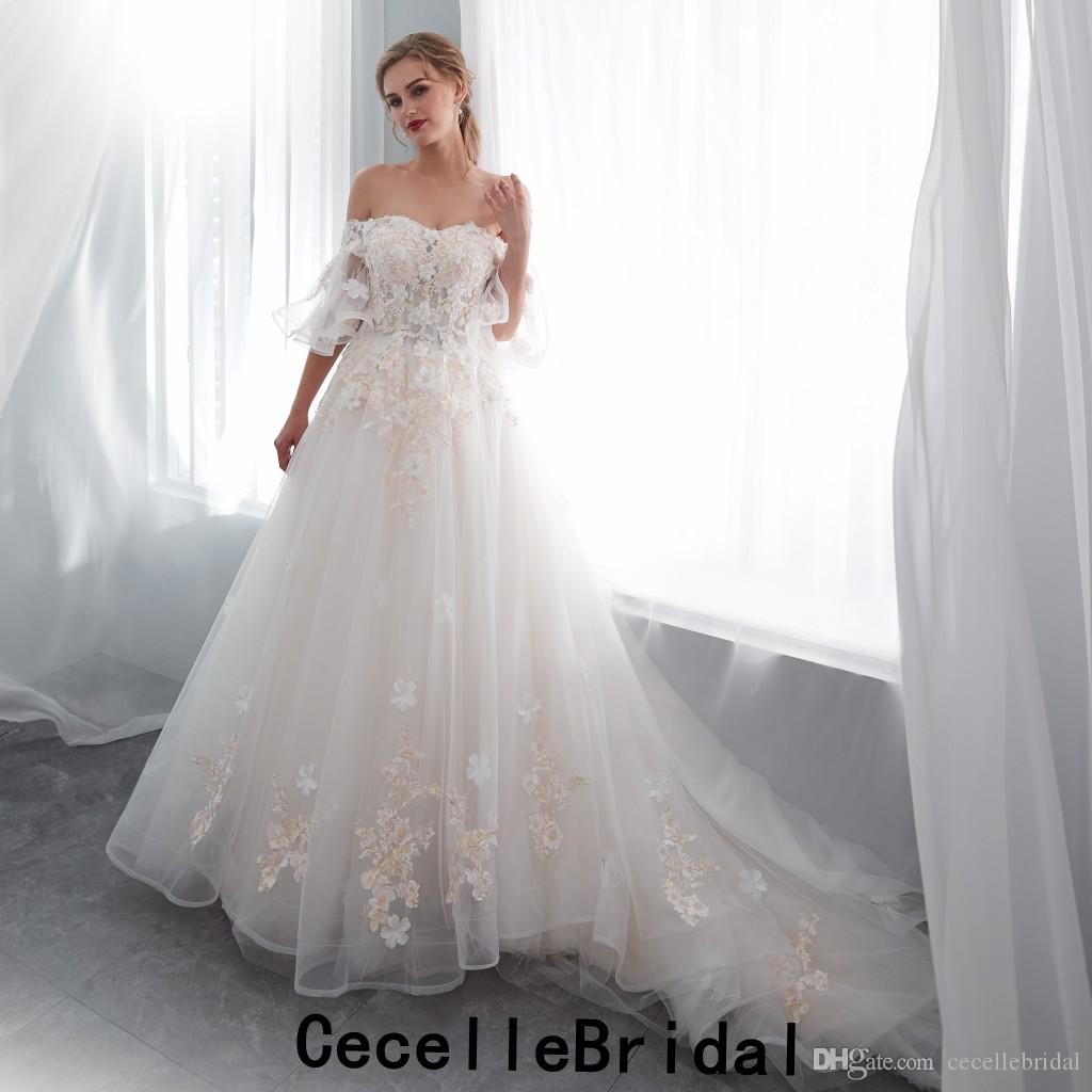 2018 New Arrival A Line Long Boho Wedding Dress Off The Shoulder Champagne Gold Lace Corset Back Country Western Bridal Gown