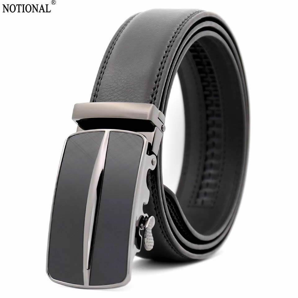 Men/'s Fashion Automatic Sliding Buckle Real Leather Ratchet Belt Waistband Jeans