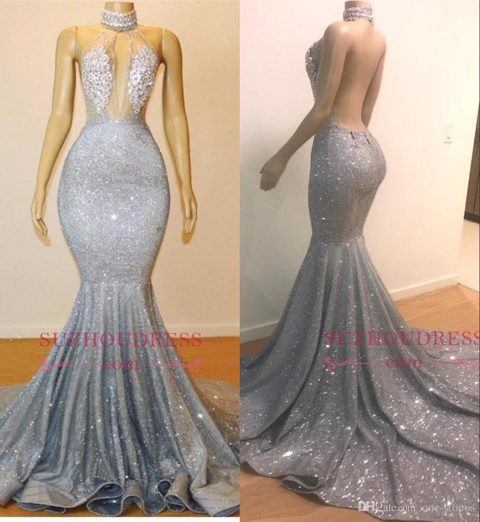 a5470657 2019 Silver Prom Dress Mermaid Formal Party Gown Sleeveless Afraic Girl Evening  Dresses Sequins Backless Pageant Drseses Custom Made Mermaid Prom Dresses  ...