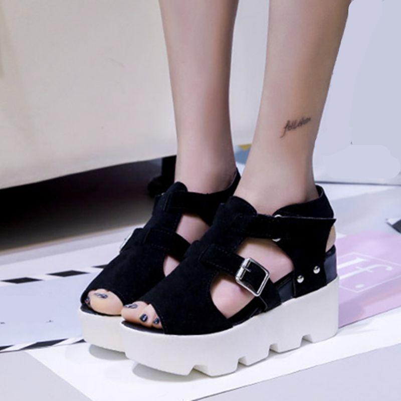 852d291c8c57 Босоножки на платформе Женская летняя обувь на высоком каблуке с открытым  носком ...