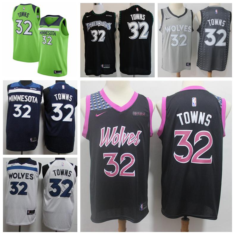 big sale 407a6 d3821 Mens 32 Karl Anthony Towns Minnesota Timberwolves Basketball Jerseys  Authentic Stitched Mesh Dense AU Andrew Wiggins Basketball Jerseys