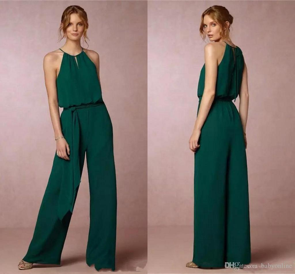 Country Style Chiffon Cheap Bridesmaid Pant Suits Dresses