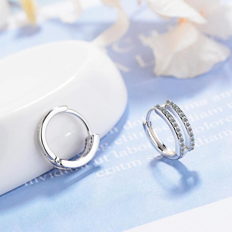 e5829e6ae1e90 Hot Silver Plated Color Double Row Hoop Earrings Small Round Rhinestones  Hoop Earrings Women s Hot Fashion Jewelry Shiny Gift