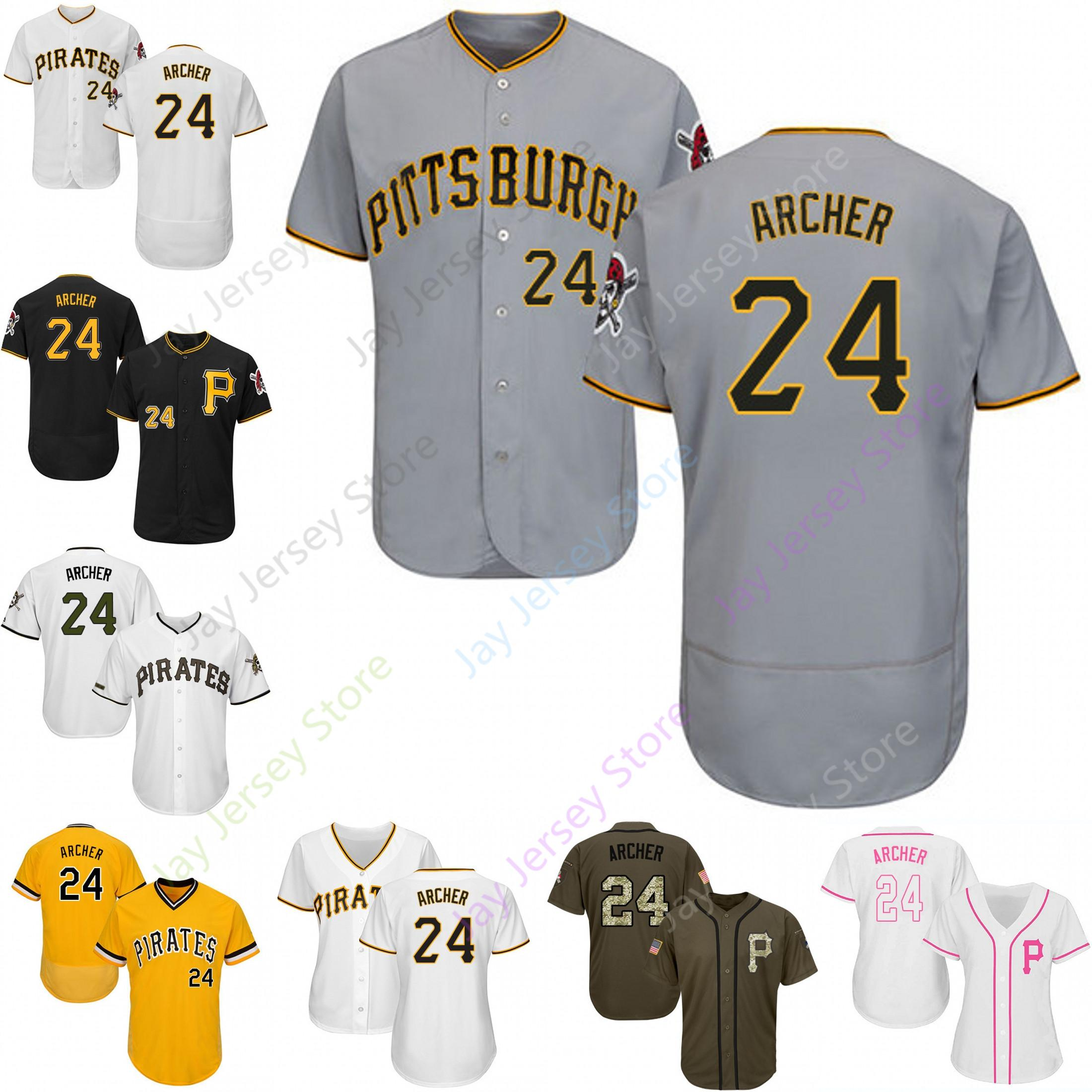 watch a5f99 fc881 Custom Pittsburgh 24 Chris Archer Jersey Pirates Jerseys Cool Base Flexbase  White Black Red Grey Home Away Men Women Youth All Stitched